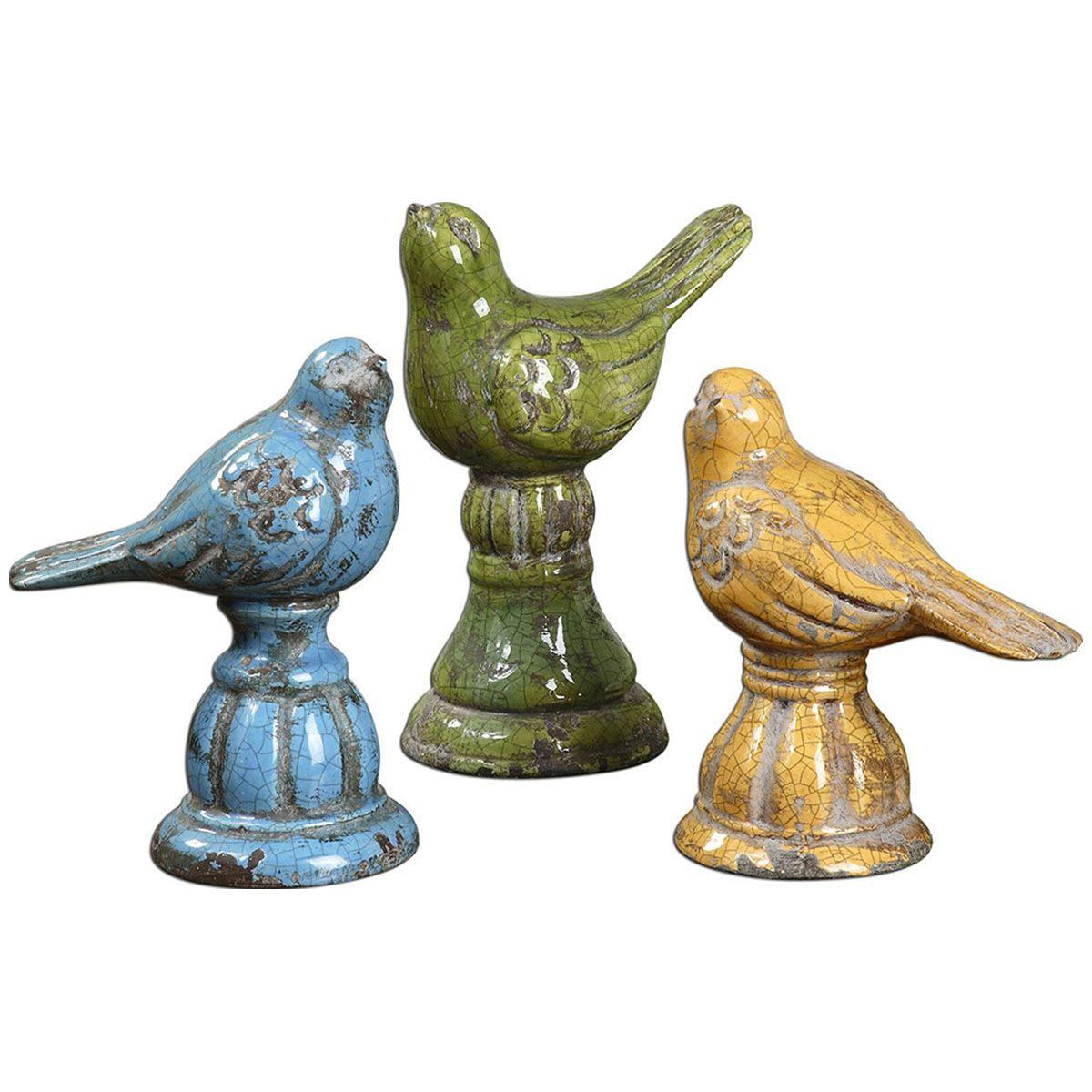 Uttermost Bird Trio Ceramic Figurines Set Of 3 19705 With Images Bird Decor Green Home Decor Ceramic Birds