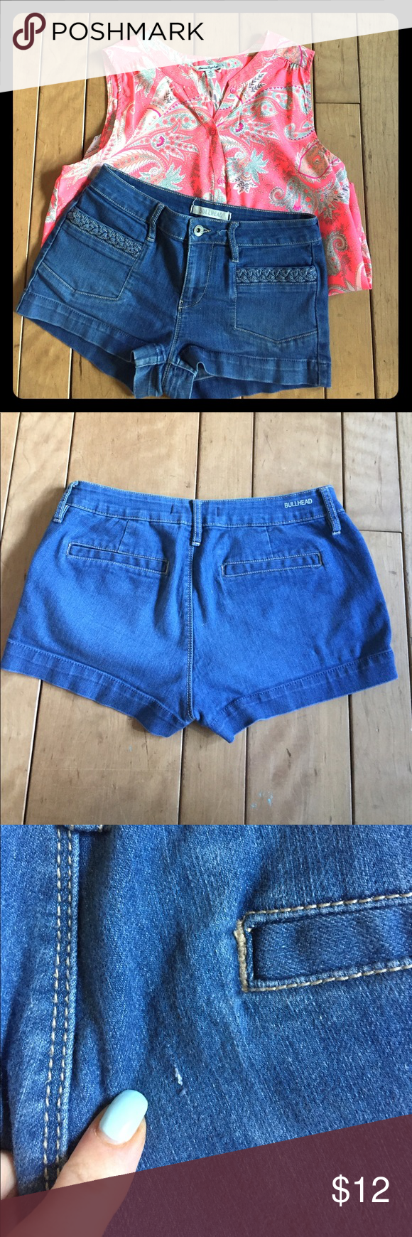Bullhead Pacsun denim short Bullhead denim shorts with braided pocket. Tiny snag on the back in picture 3, it is not a hole! Comment below or send me an offer! ❤️ Bullhead Shorts Jean Shorts