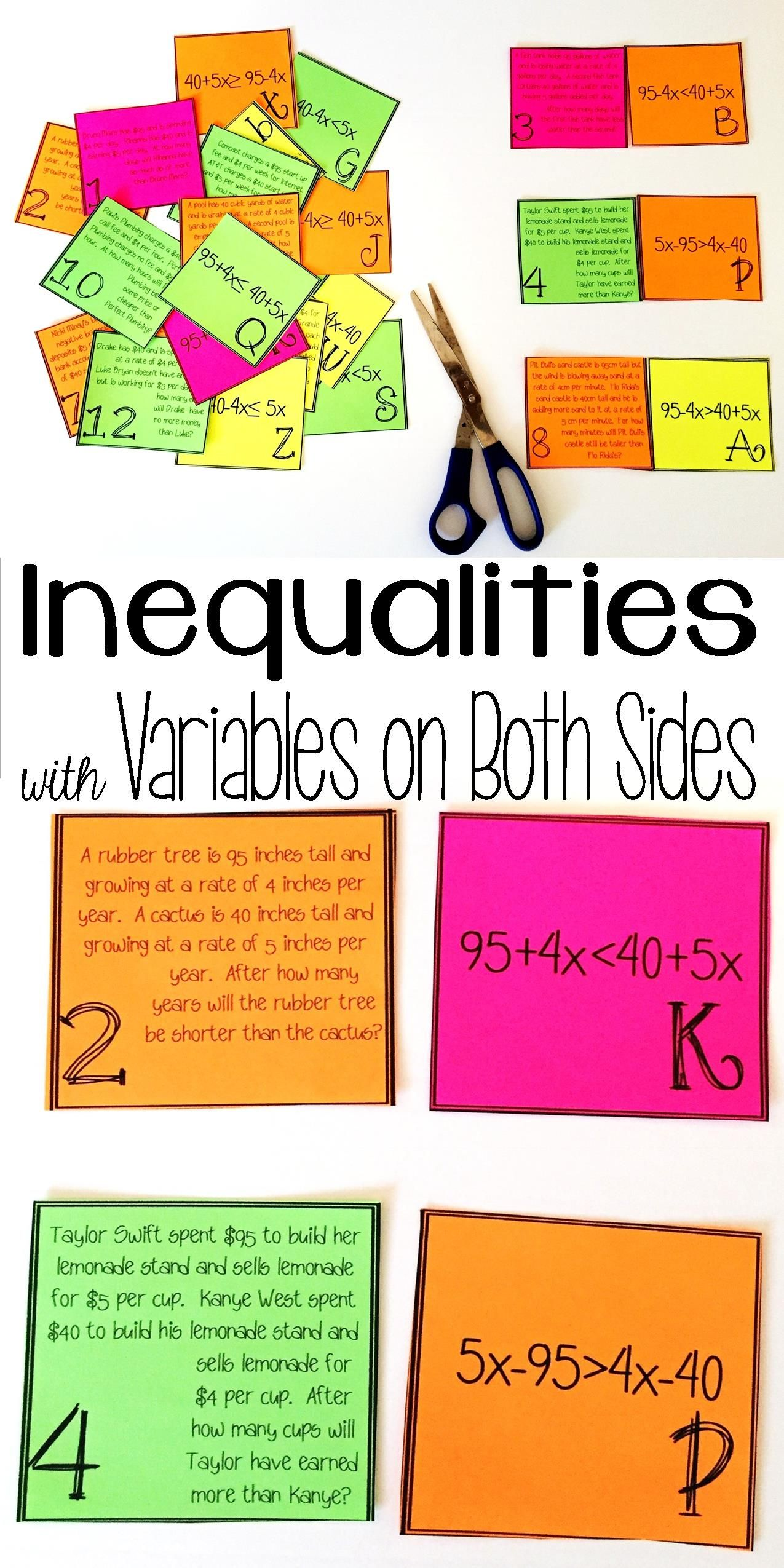 Inequalities With Variables On Both Sides Word Problem Matching Cards School Algebra Word Problems Teaching Algebra