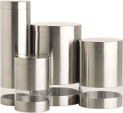Stainless/Acrylic Canisters On Http://www.gearculture.com