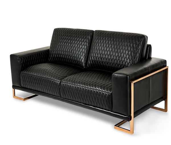Magnificent Gianna Leather Standardsofa In Black Rosegold Mia Bella Download Free Architecture Designs Itiscsunscenecom