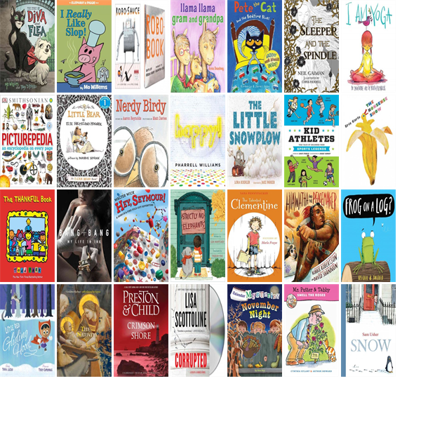 """Wednesday, December 16, 2015: The Monson Free Library & Reading Room has one new bestseller, three new audiobooks, 44 new children's books, and one other new book.   The new titles this week include """"The Story of Diva and Flea,"""" """"I Really Like Slop!,"""" and """"Robo-Sauce."""""""