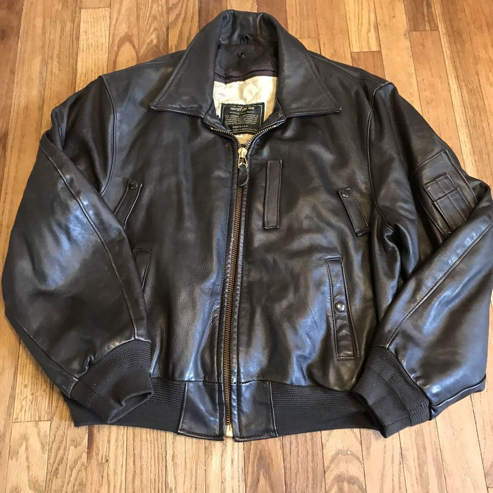 Sporty S Pilot Shop Vintage B 15 Bomber Leather Jacket Sz Large Leather Jacket Leather Bomber Jacket Jackets [ 1000 x 1000 Pixel ]