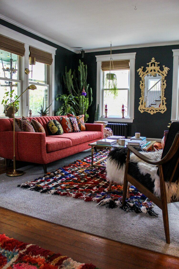 Nicola Broughton The Girl With The Green Sofa Blog Homekate Pearce S Vintage Eclectic Long Island Home In 2020 Red Couch Living Room Red Sofa Living Room Moody Living Room