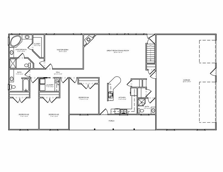 4 Bedroom Ranch Floor Plans
