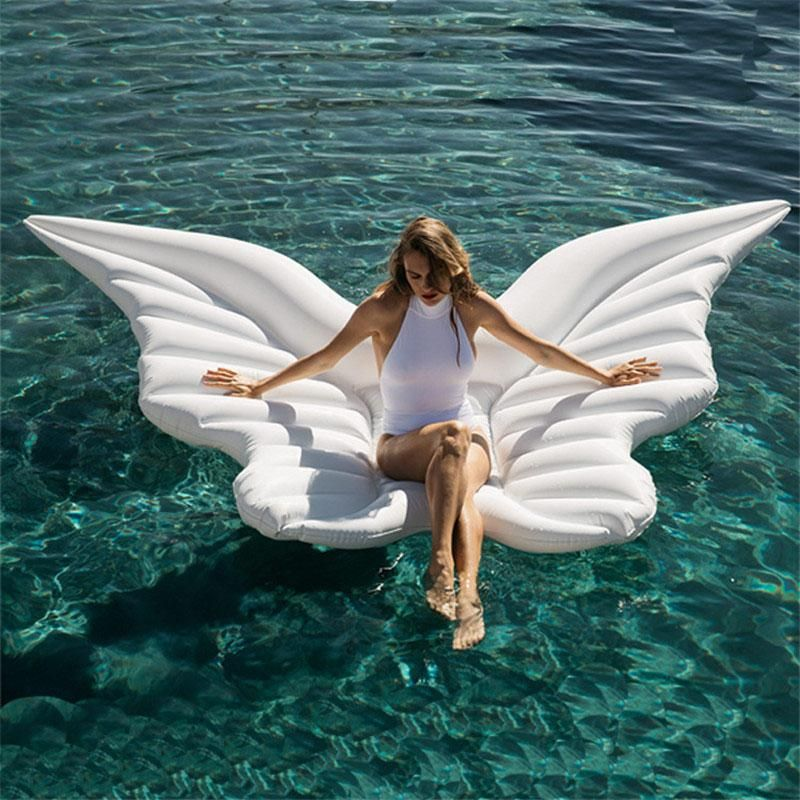180cm Giant Angel Wings Inflatable Pool Float White Air