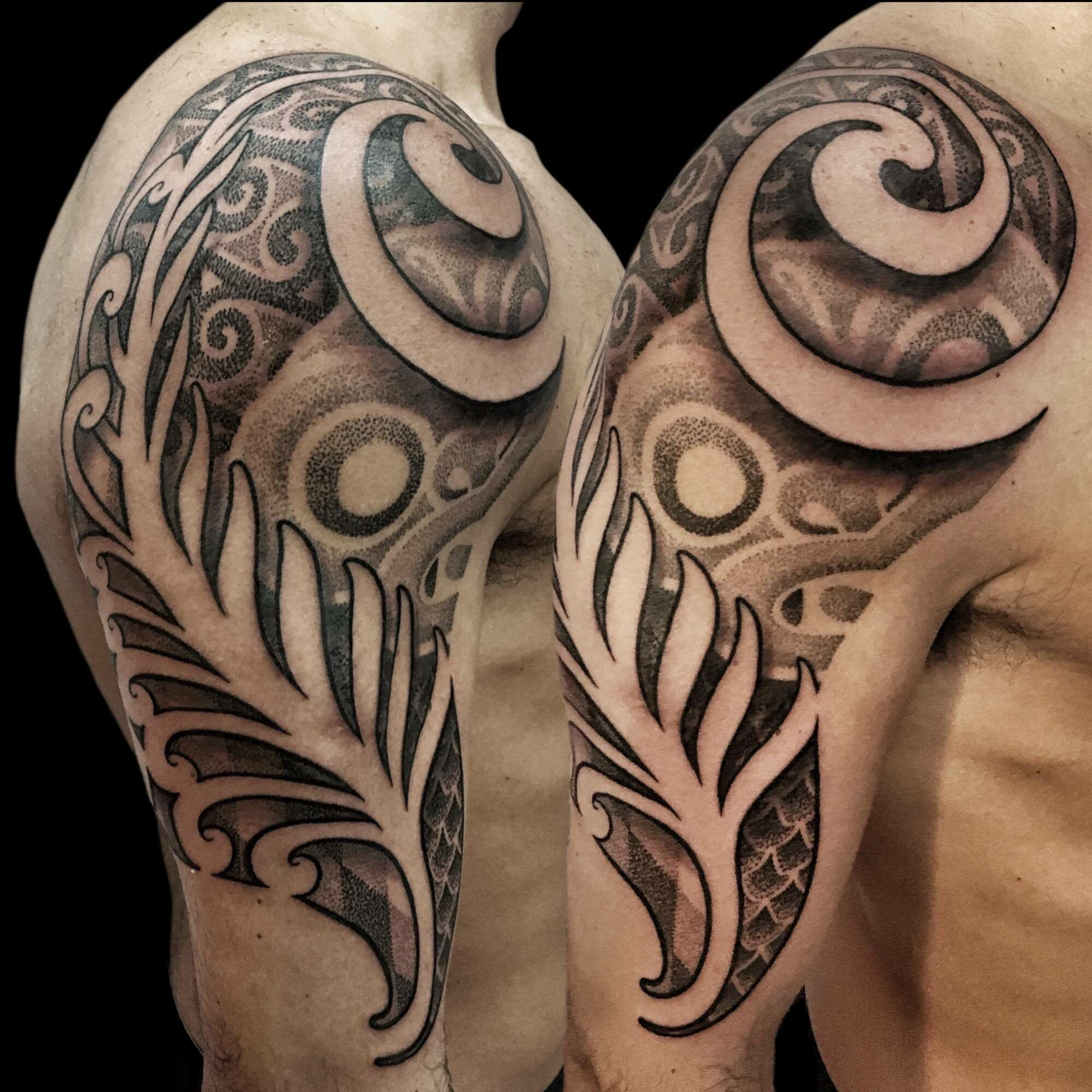 Maori and New Zealand inspired geometric dotwork tribal