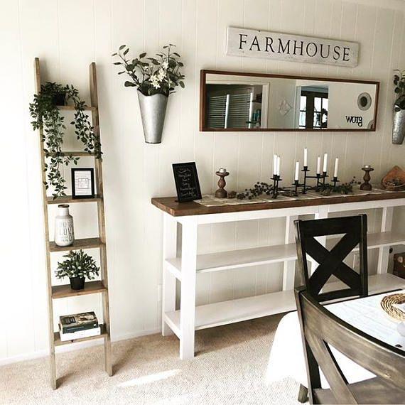 Farmhouse dining room decor. Ladder shelf on sale by ...