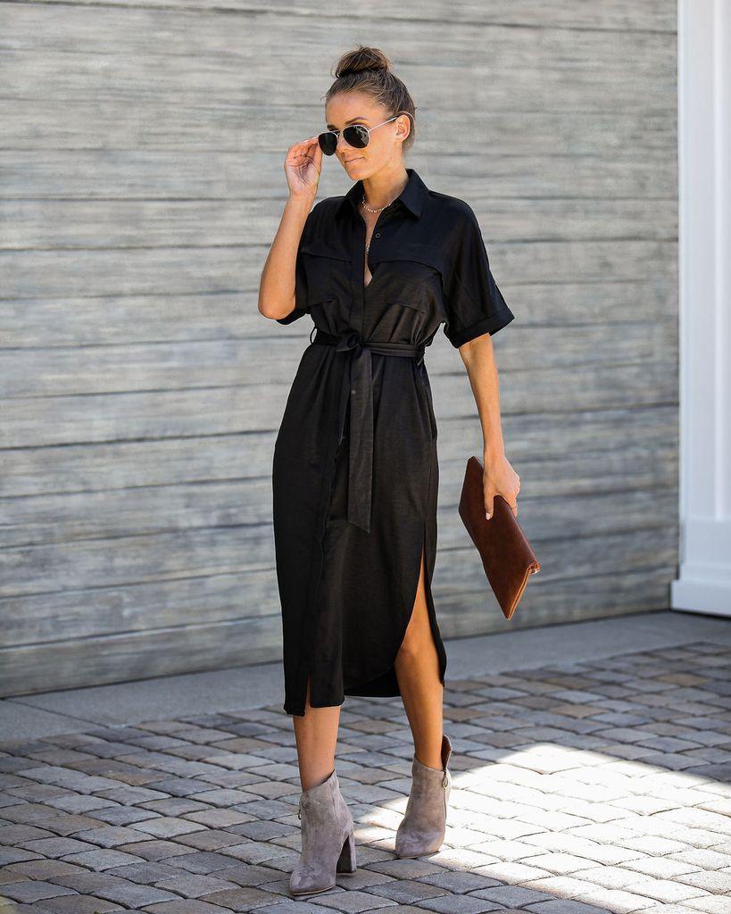 Bond Pocketed Button Down Midi Dress Button Dress Outfit Button Down Shirt Dress Winter Dress Outfits [ 1024 x 819 Pixel ]