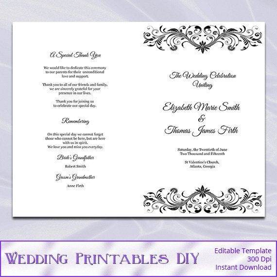 Wedding Program Booklet Template - Black and White Diy Printable - microsoft word book template free