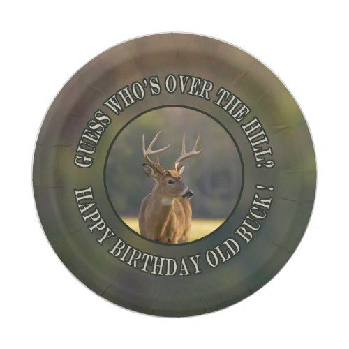 Funny Hunting Guess Whos Over The Hill Old Buck 2 Paper Plate ... ad0a8de053c6