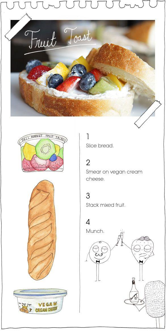 fruit toast-- like a more breakfast appropriate fruit pizza! tastyyyyyyyyyyy mmmmmmmmm