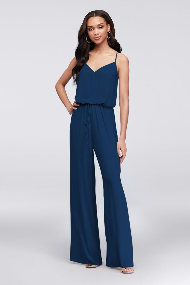 Flowy Wide-Leg Georgette Bridesmaid Jumpsuit Style F19790, Black, 0 #bridesmaidjumpsuits Flowy Wide-Leg Georgette Bridesmaid Jumpsuit Style F19790, Marine, 18 #bridesmaidjumpsuits