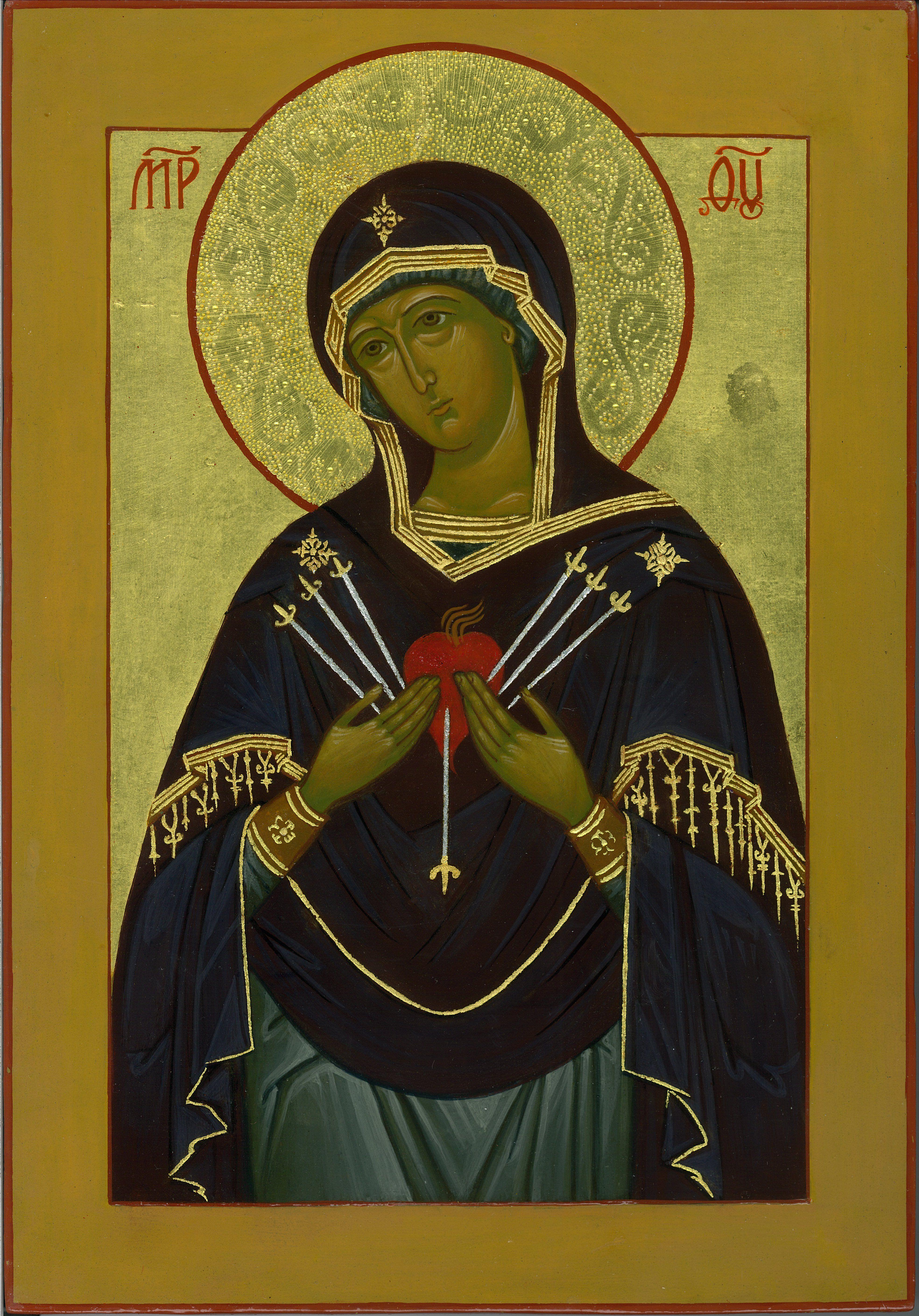 """Mary """"Softener of Hardened Hearts"""" Icon  9x12 Egg tempera 23k gold leaf tooled…"""