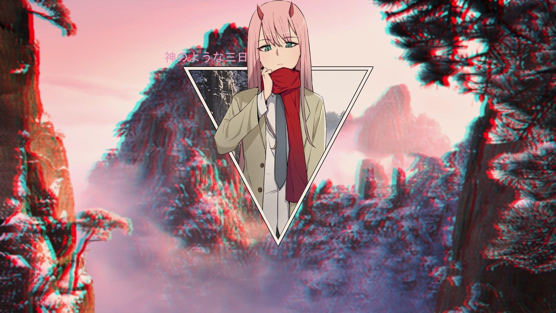 Zero Two Zero Two Darling In The Franxx Darling In The Franxx Picture In Picture Blurred 1080p Wallpaper Hd Anime Wallpaper Anime Wallpaper Iphone Anime