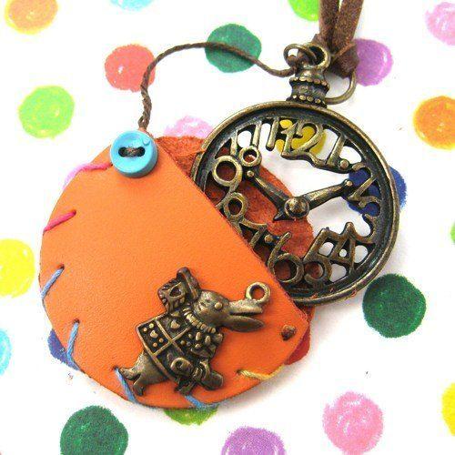Alice in Wonderland Inspired Pocket Watch Pendant Necklace in Orange
