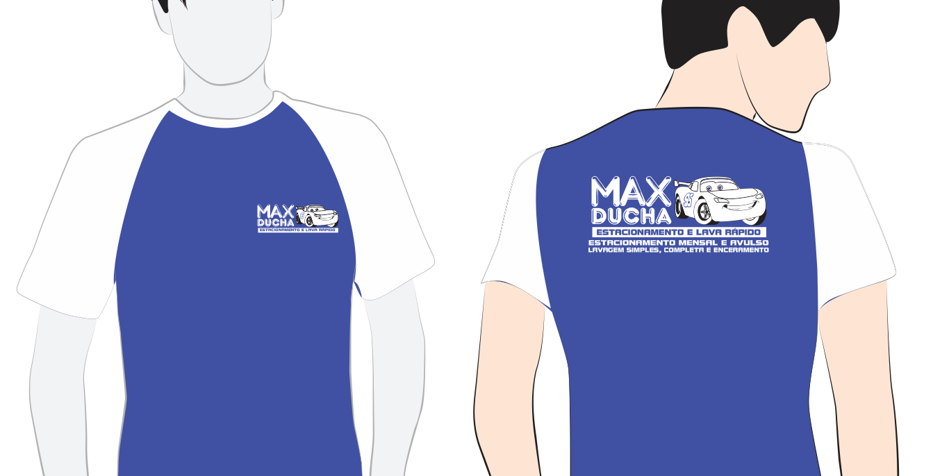 Cliente: Max Ducha - Estacionamento e Lava Rápido Produto: Camisetas com Estampa em Silk Screen  Software Utilizado: Corel Draw X7 Sobre o Projeto: Desenvolvimento do layout, logotipo e modelo da camiseta, de acordo com a identidade visual da empresa cliente.