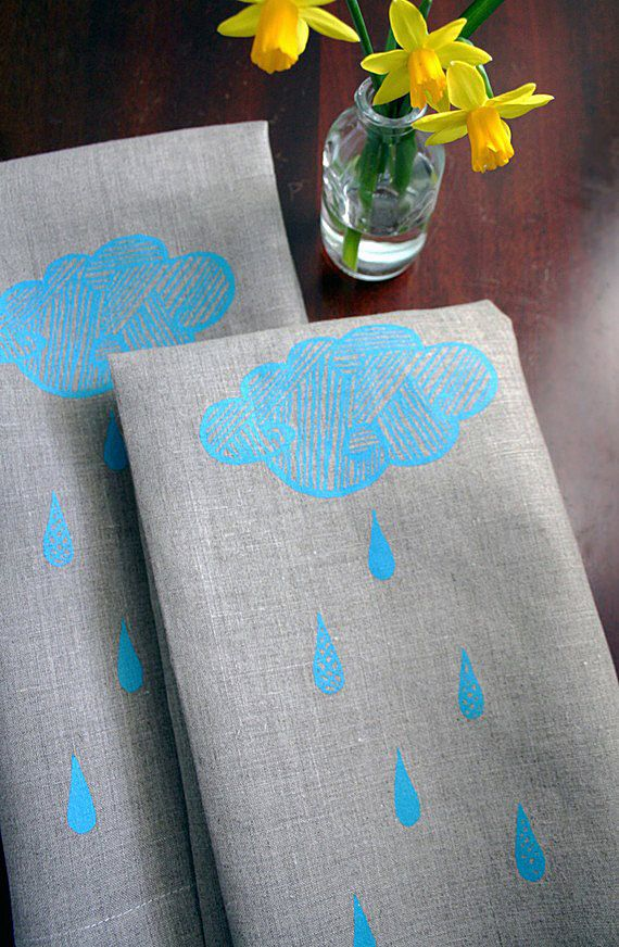 Rain Cloud Linen Tea Towel in Natural Flax by PonyAndPoppy on Etsy, $17.00 -- i love the bright blue ink on the linen background.