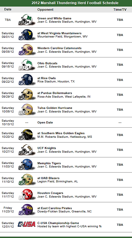 Marshall Thundering Herd 2012 Football Schedule