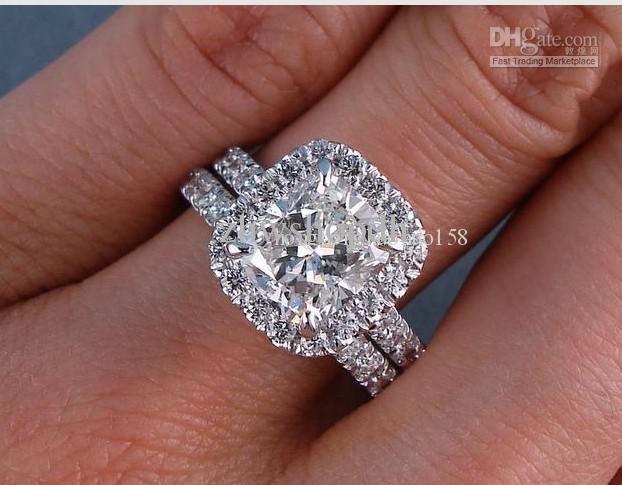 318 Ct Tw Cushion Cut Diamond Wedding Ring