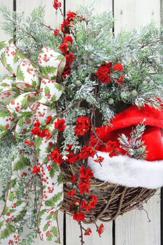 Santa Hat Wreath Christmas Wreath Front Door by TheWreathShed