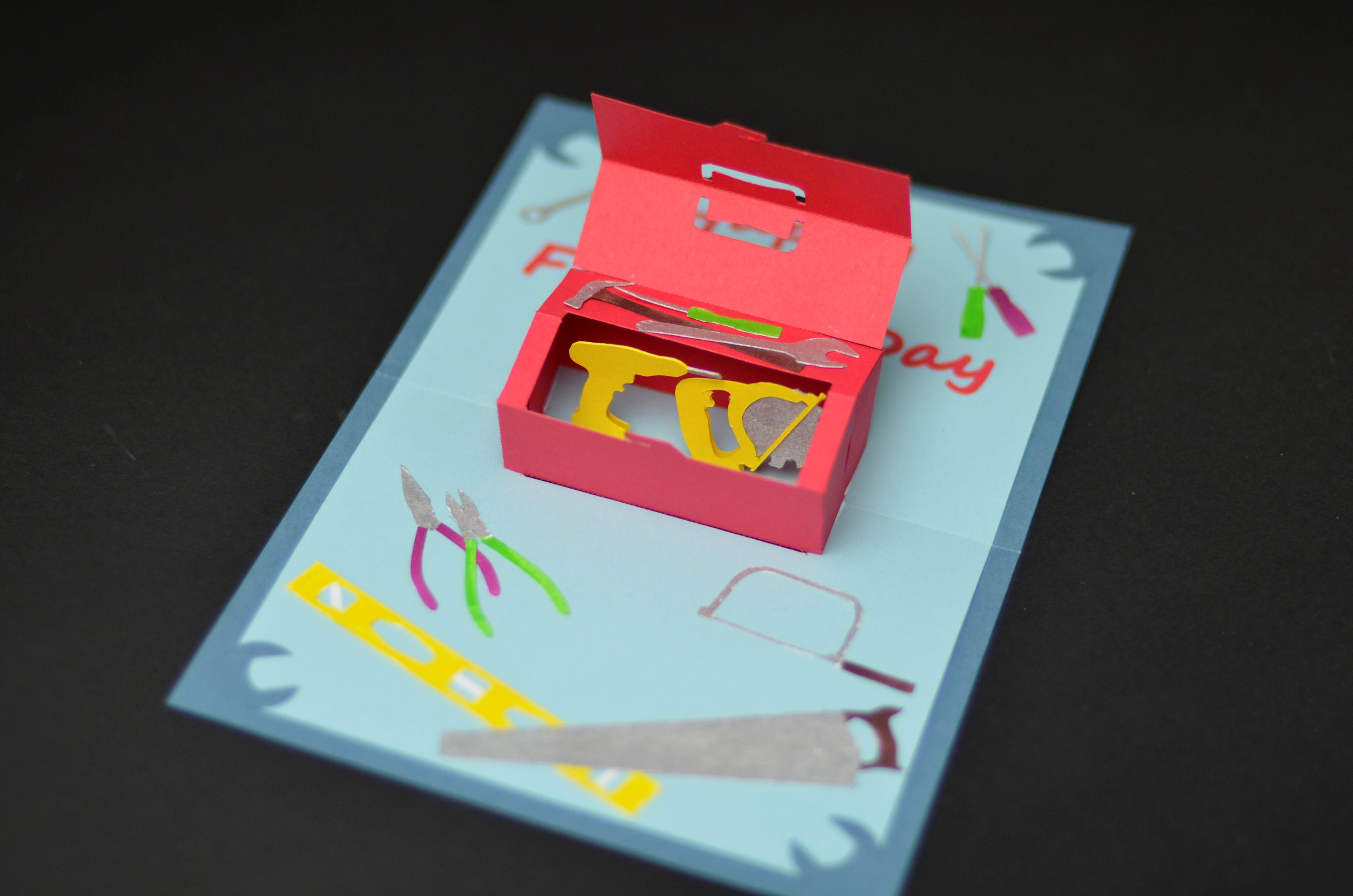 How To Make A Father S Day Toolbox Pop Up Card Creative Pop Up Cards Pop Up Card Templates Pop Up Cards Fathers Day Crafts