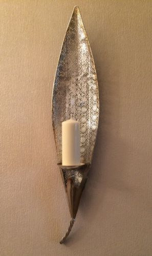 Vintage Moroccan Silver Gold Large Leaf Pillar Candle Holder Wall Sconce New