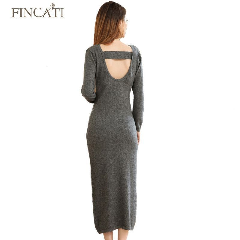Fincati Women's Autumn Winter Cashmere Blending Bare-Back Design Streched Slim Fitted Long Sweater Dresses S-XXL