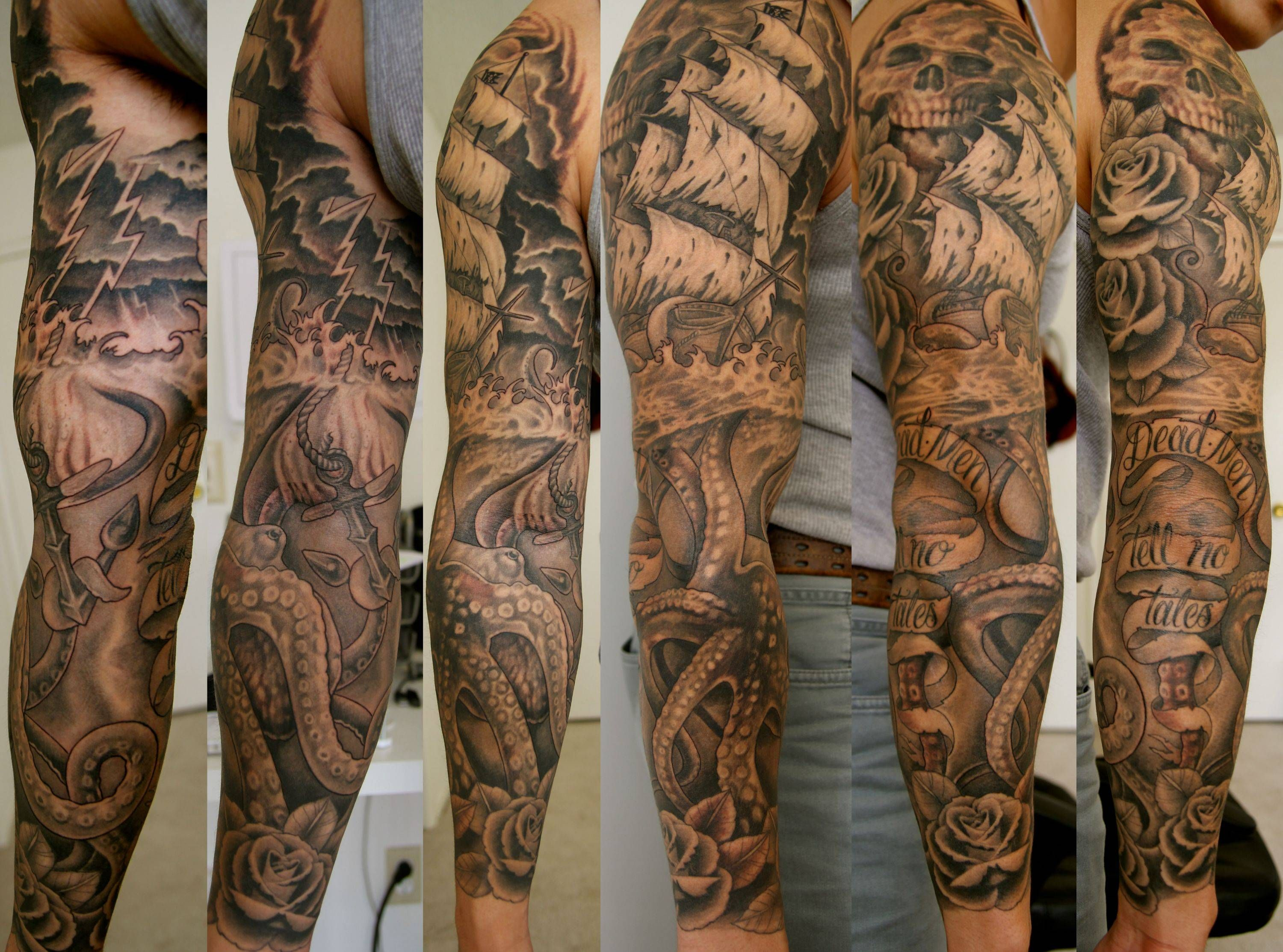 Lower leg guys traditional sleeve tattoos - My Pirate Ship Kraken Sleeve Finished Up About A Month Ago By Jason Stores Tattoo Lounge Los Angeles