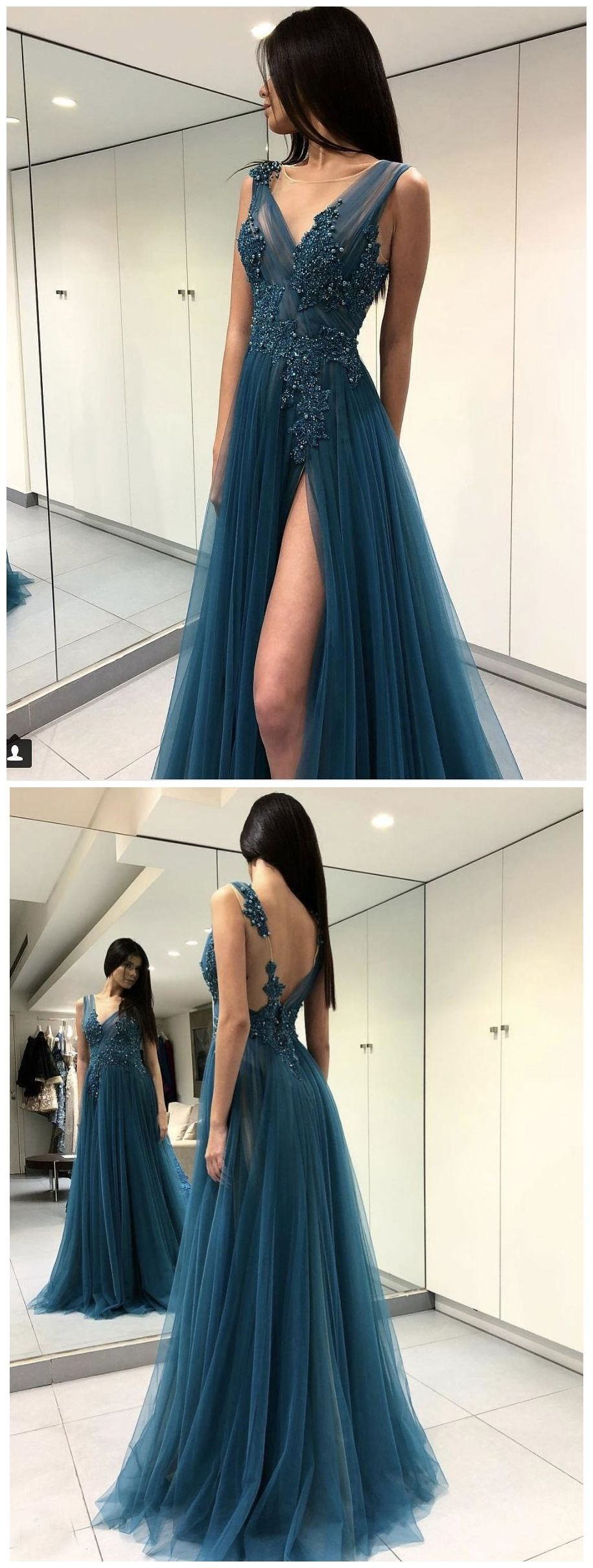 Long see through thigh slit blue prom dresses backless beaded lace