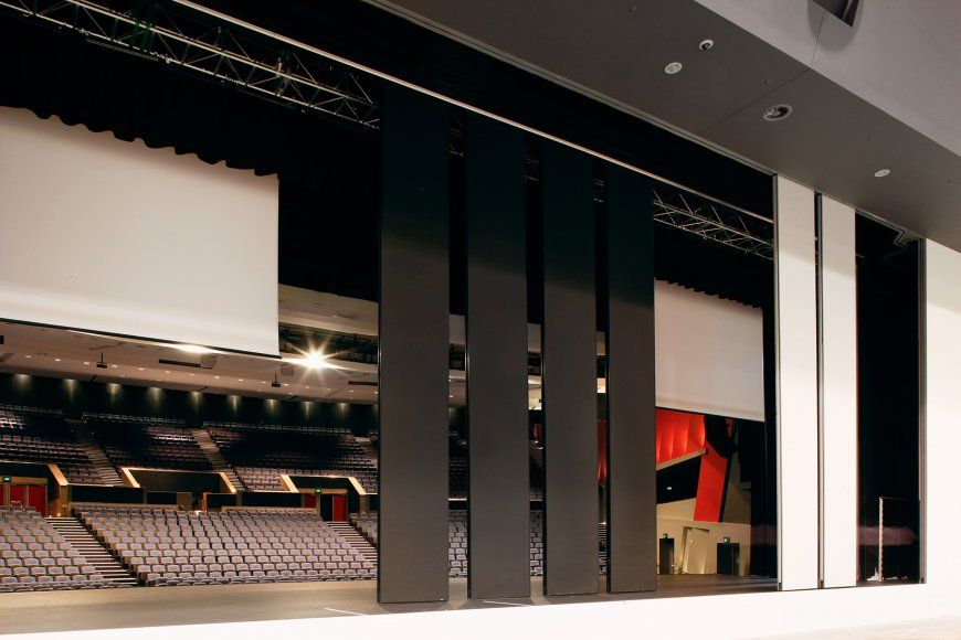 Two 8 metre high acoustic movable walls operable for Lotus operable walls
