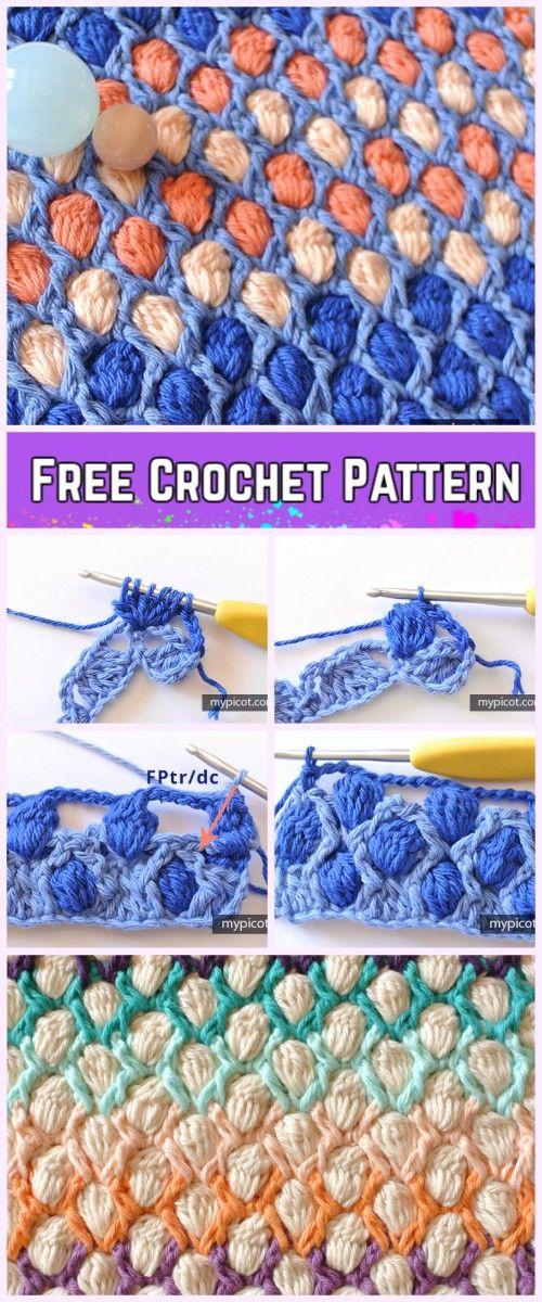 Crochet Colorful Cluster Stitch Free Pattern | Häkelmuster, Häkeln ...