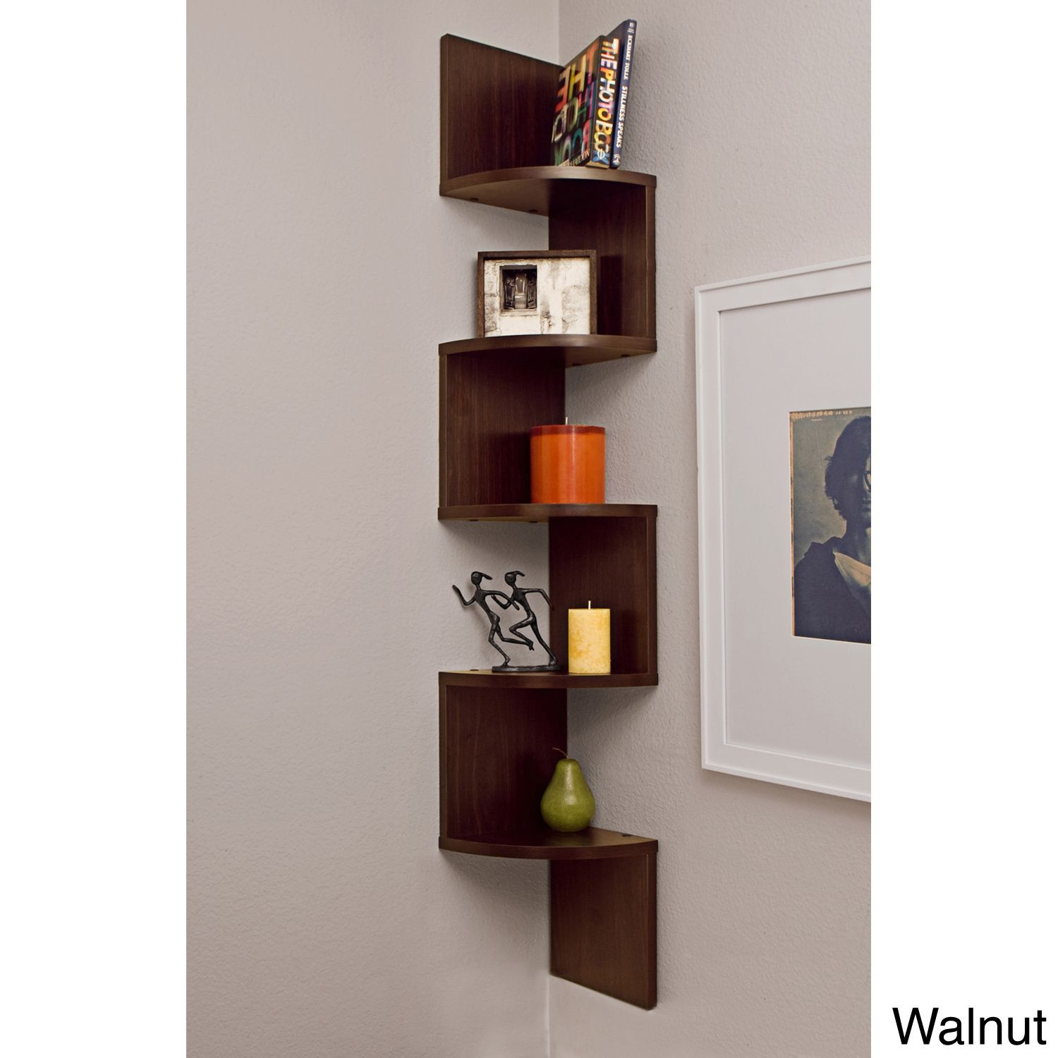 This unique corner wall-mount shelf has a fun and artsy design that will add