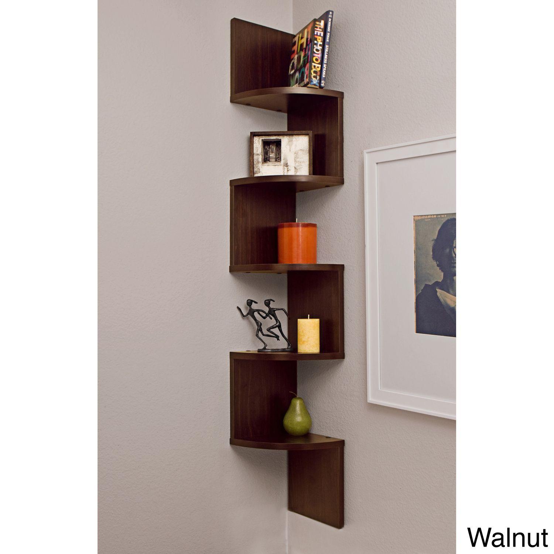 Danya B Large Decorative 5 Tier Corner Floating Wall Mount Display Shelving Unit Wall Mounted Shelves Large Corner Shelf Corner Wall Shelves