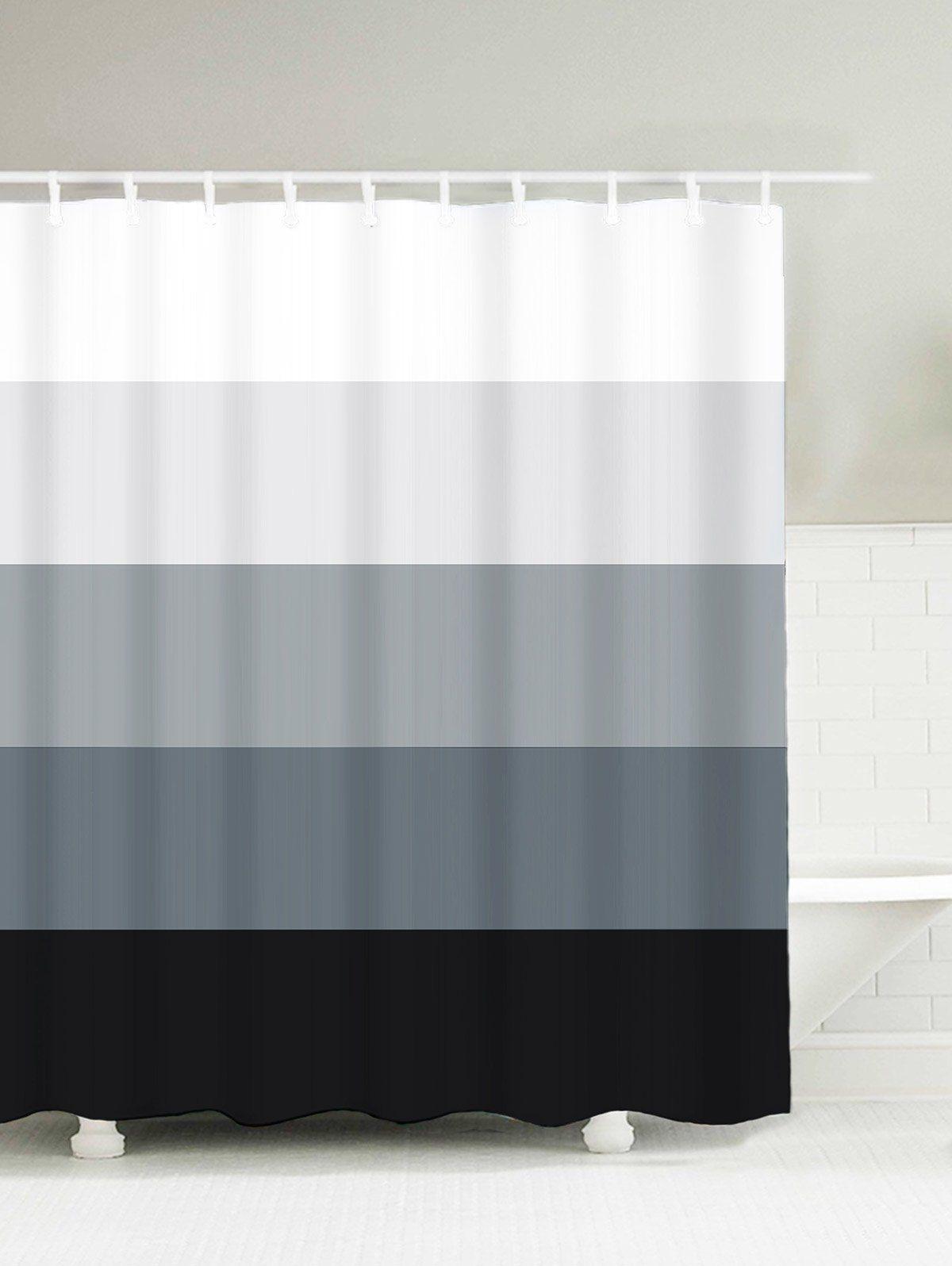 Gradient Striped Water Resistant Bath Decor Shower Curtain Black Gradual Grey 150 180cm Christmas Shower Curtains Bathroom Curtains Hookless Shower Curtain