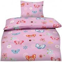 Bettwäsche 135x200 Schmetterlinge Mädchen Rosa Bettwäsche Kinder