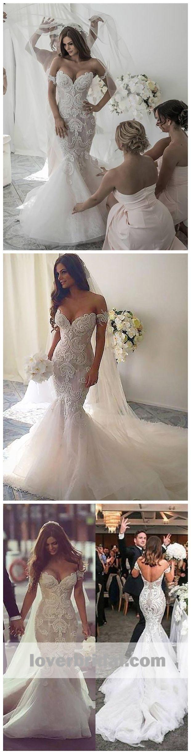 Off the shoulder lace mermaid wedding dress  Sexy Off Shoulder Backless Lace Mermaid Wedding Dresses Online