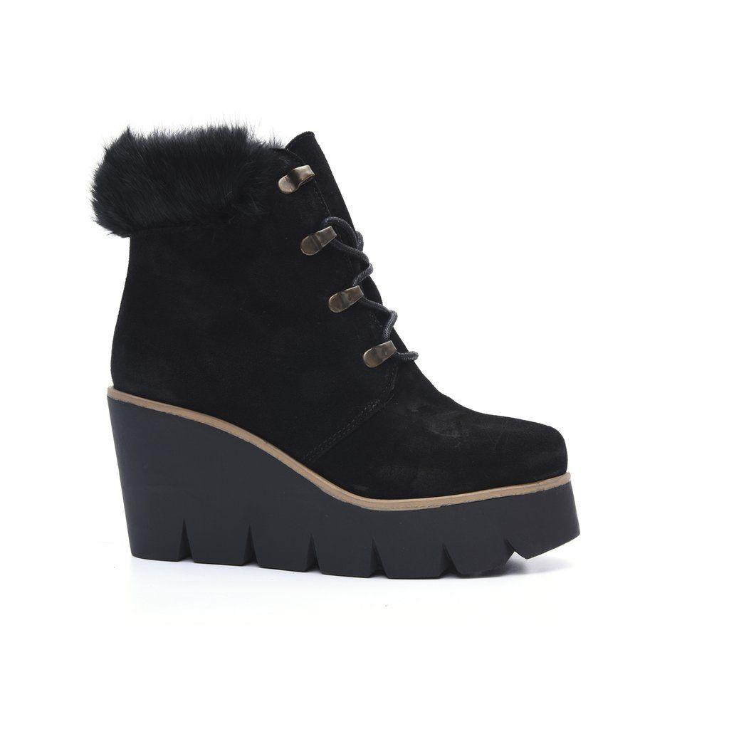 ALPE Black Fur Trim Wedge Ankle Boots  9e93a59f9a357