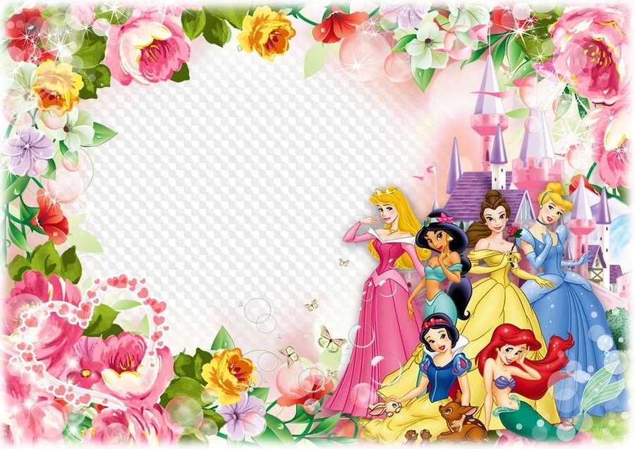 Photo Frame Template For Children Photo With Disney Princesses Happy Birth Happy Birthday Disney Princess Happy Birthday Princess Disney Princess Invitations