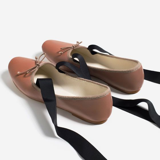 Image 4 of LACE UP LEATHER BALLET FLATS from Zara SPREE   SPREE Zara V STEAL b1d20a