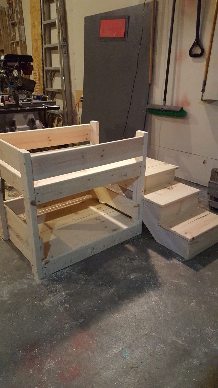 Doggy Bunk Bed W Stairs Dog Furniture Dog Bed Diy Dog Bed
