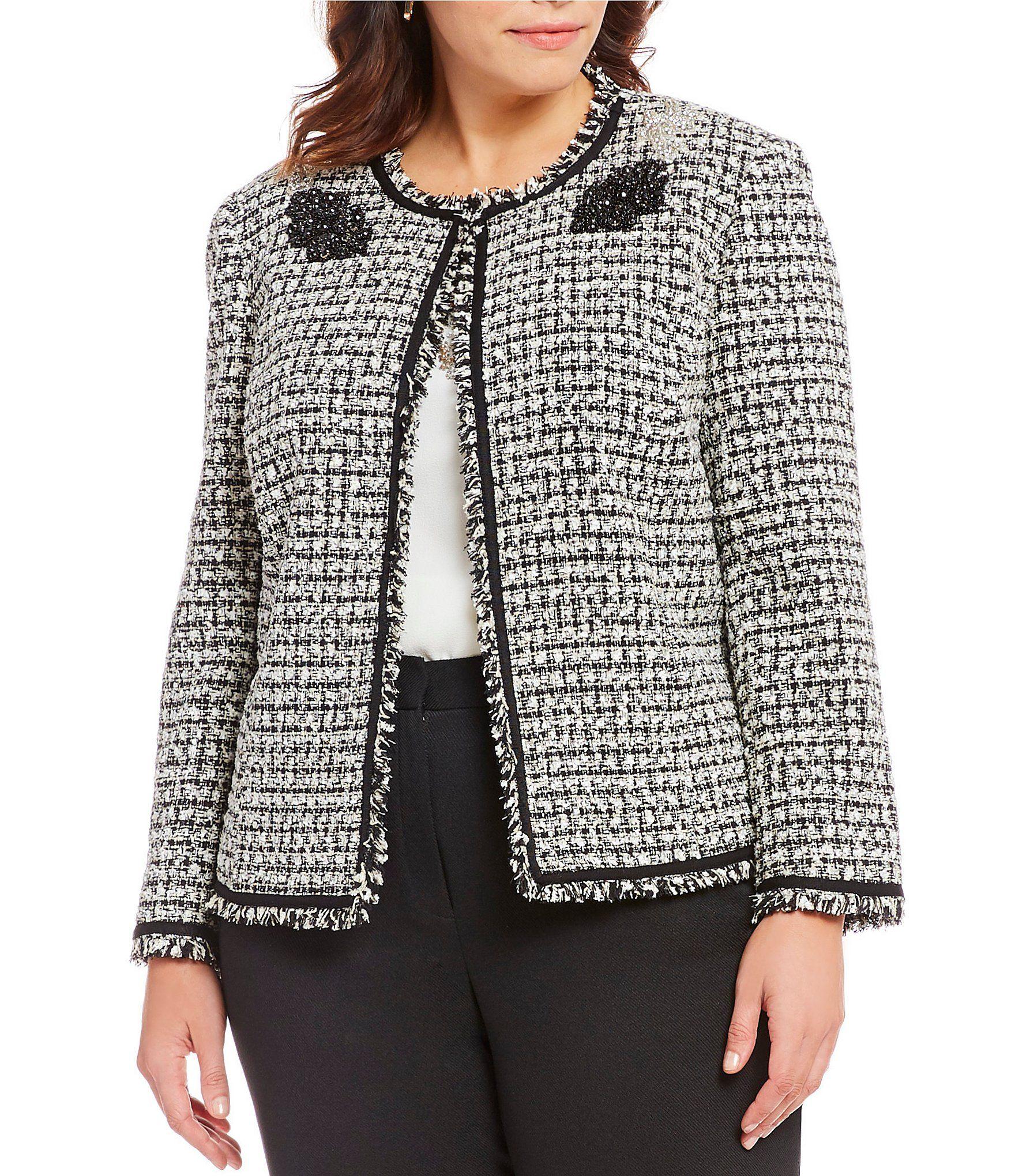 9541e4e0772 Tahari ASL Plus Size Embellished Applique Fringe Trim Boucle Jacket   Dillards