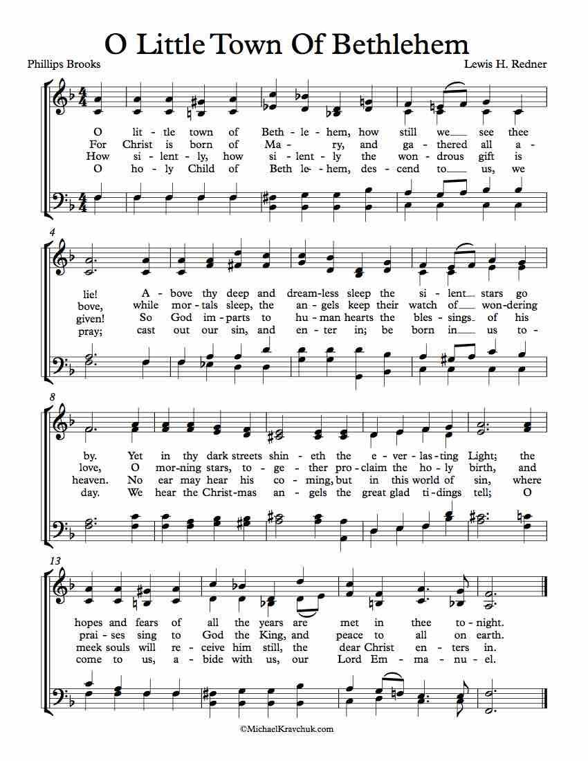 Free Choir Sheet Music O Little Town Of Bethlehem Key Of Eb F