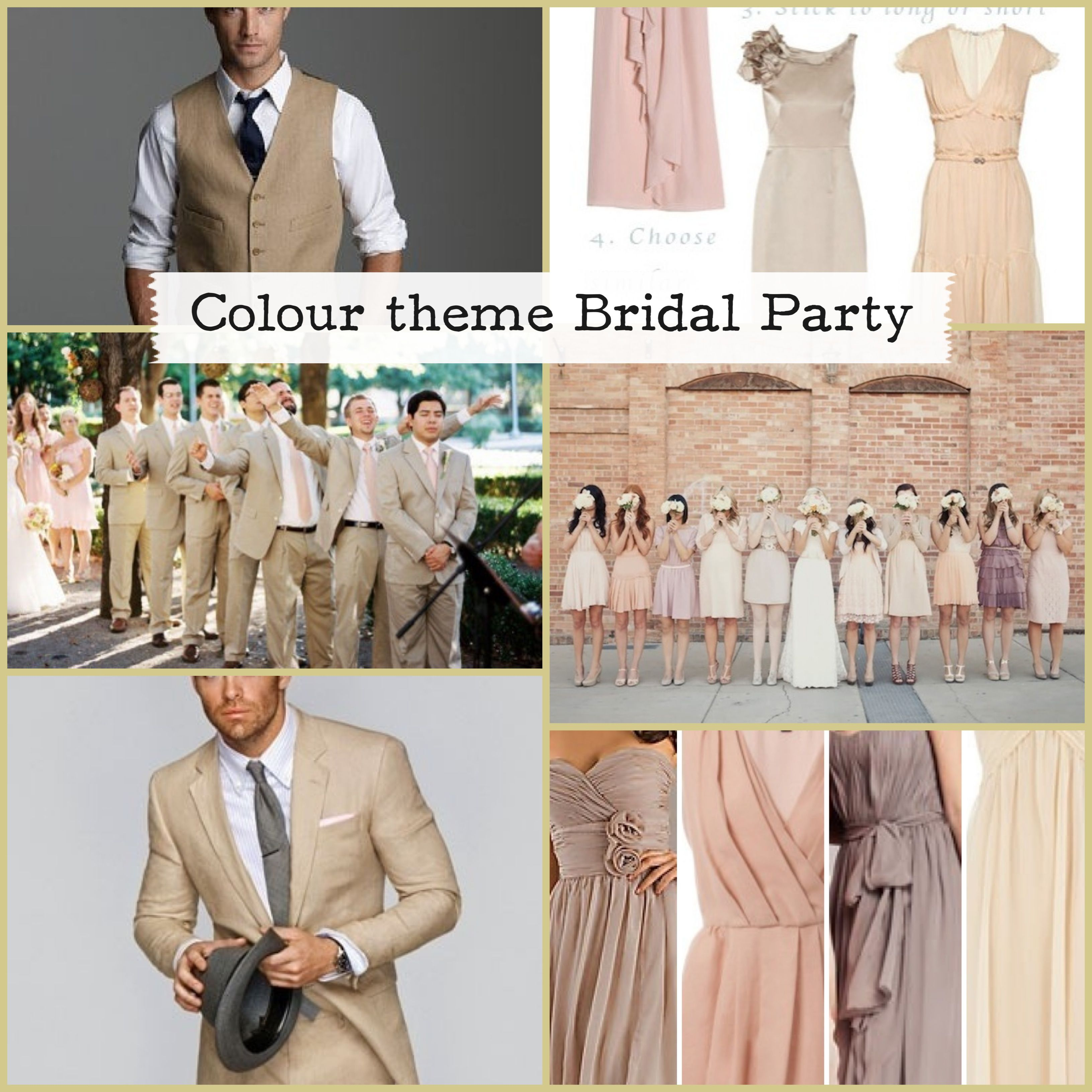5ae7b02d67b75 Color theme wedding bridal party bridesmaid groomsmen cream brown hues  ivory Love the men's suits!!