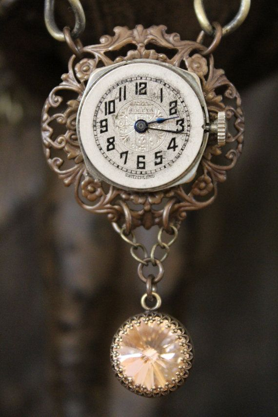 Vintage Watch Face Necklace by BelleVia on Etsy, $38.00