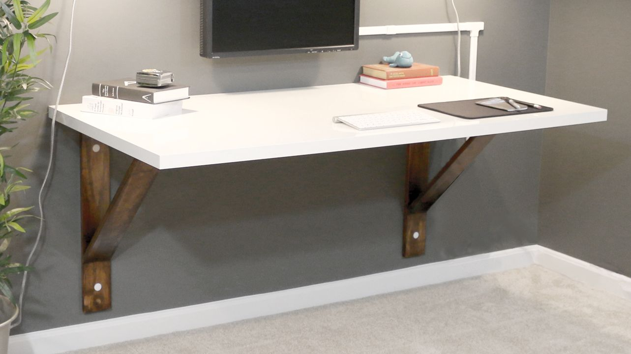 Build a wall mounted desk diywithrick diy furniture Diy work desk