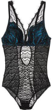 Mimi Holliday by Damaris Bisou Bisou Azure satin and lace bodysuit
