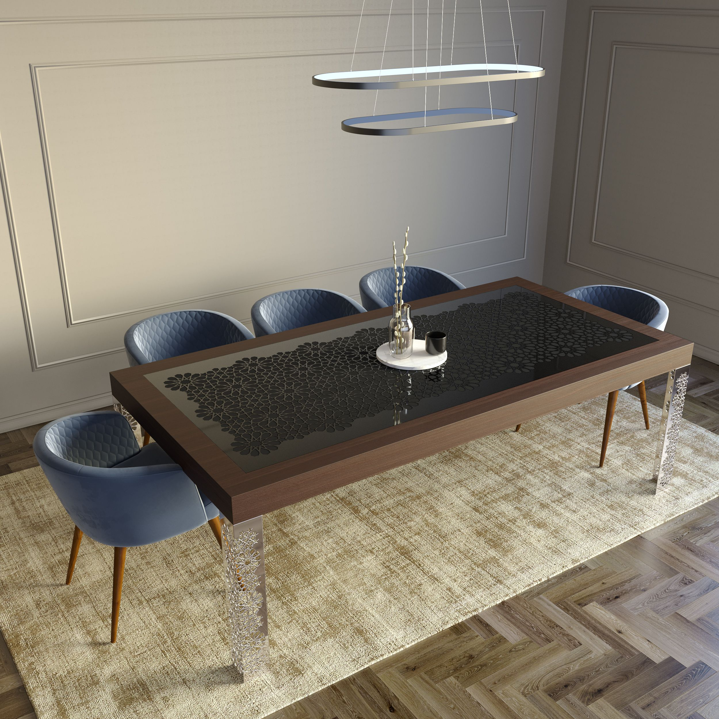 This dining table has five different patterns, two kinds of legs and tabletops, with a total of more than fifty different combinations. #diningtable #diningtabledecor #moderndiningtable #moderndiningtableluxury #furniture #luxuryfurniture #interiordesign #interiordecor #homedecor #decoration #designideas #diningroomideas #luxurydiningroom
