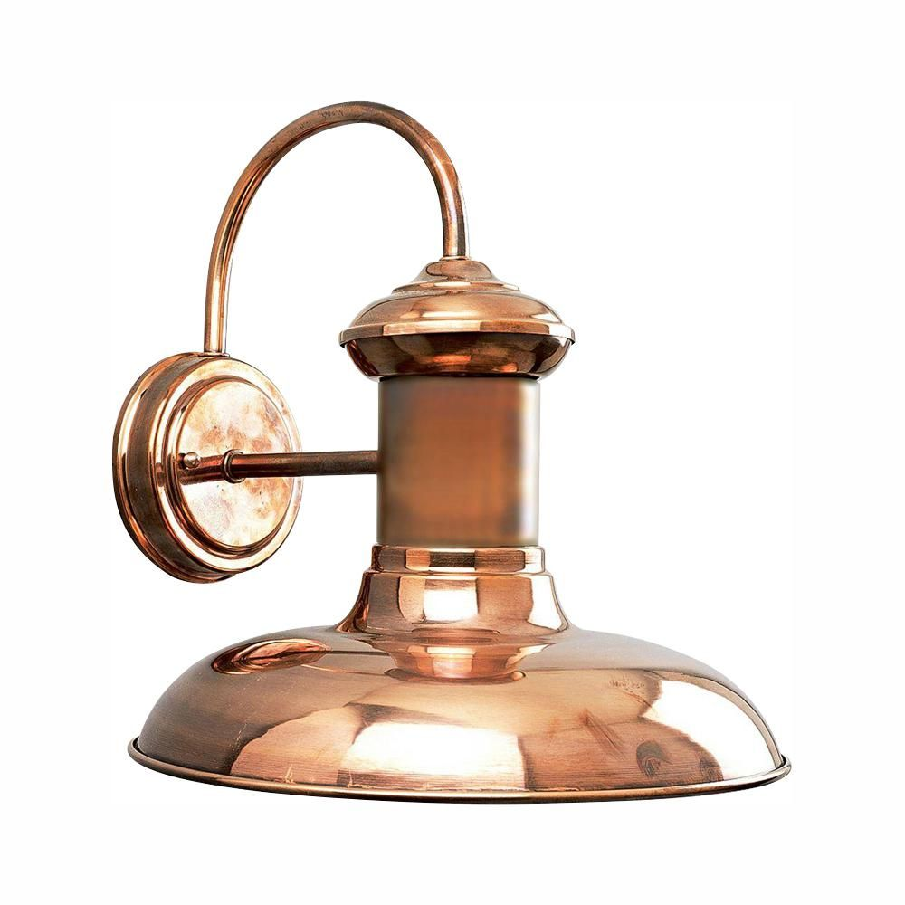 Progress Lighting Brookside Collection 1 Light Solid Copper Led 12 25 In Outdoor Wall Lantern Sconce Outdoor Barn Lighting Wall Lantern Outdoor Sconces