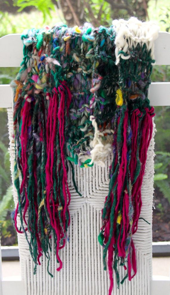 Hand Knit Multi color Scarf Handspun Raw Wool with by bpenatzer